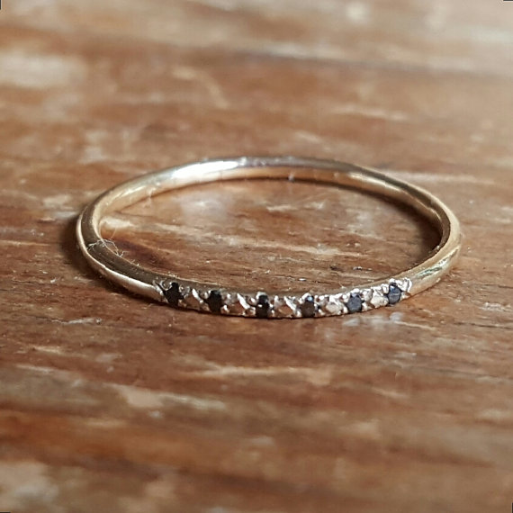 Wedding - 14K Gold Ring Black Diamonds Rings 14K Gold Stacking Anniversary Ring  Woman's Ring Gifts for Her Thin Wedding Band Diamond Engagement Ring