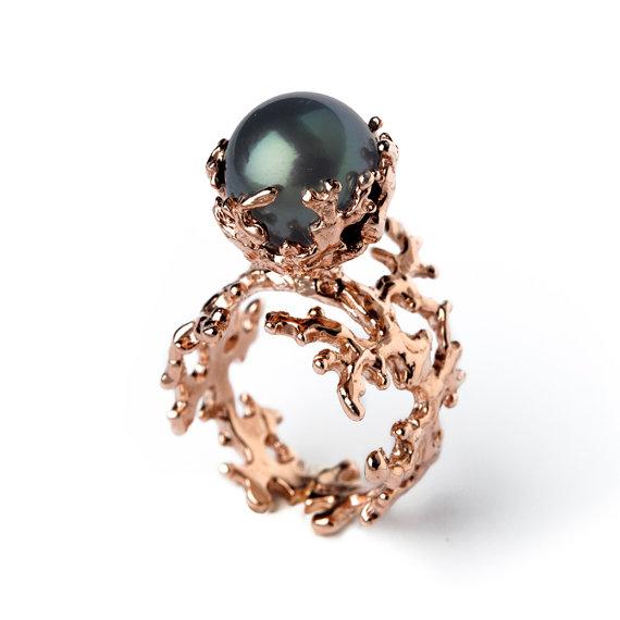 ROSE CORAL Tahitian Pearl Ring, Black Pearl Engagement