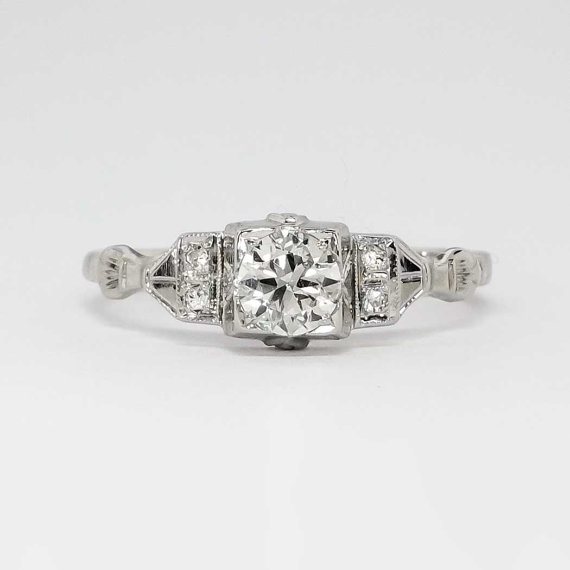Mariage - Glorious .48ct t.w. 1940's Old Transitional Cut Diamond Engagement Ring 14k
