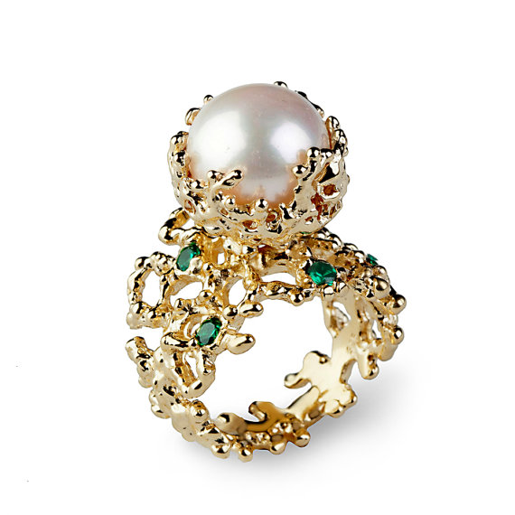 coral emerald pearl ring emerald engagement ring pearl