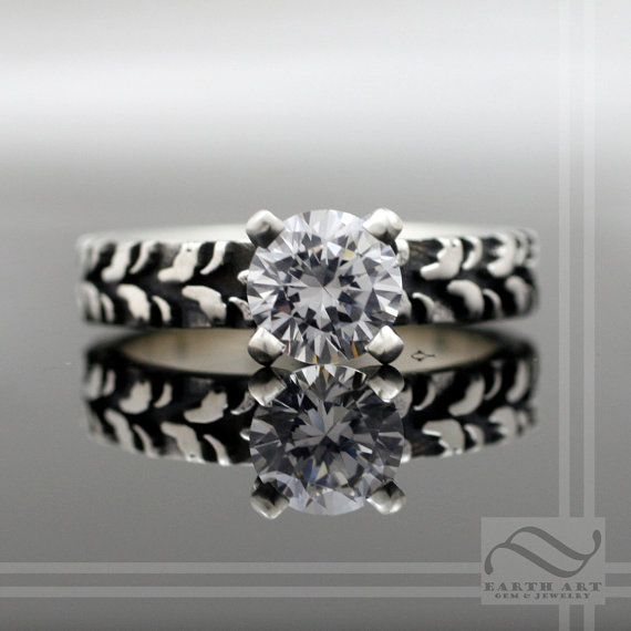 Las Narrow Tire Tread Ring With Cz Sterling Silver