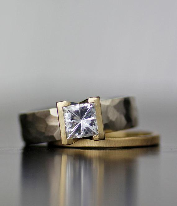 Wedding - Lodestar square moissanite modern engagement ring - princess cut moissanite alternative engagement ring wedding band set