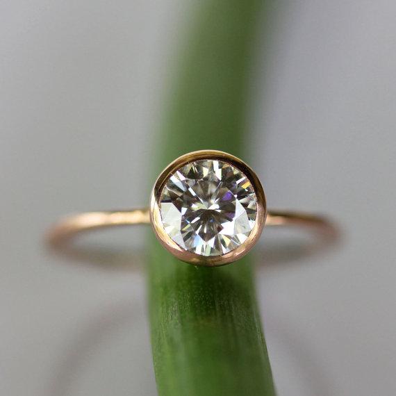 Wedding - 6mm Moissanite 14K Rose Gold Engagement Ring, Stacking Ring - Made To Order