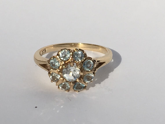 Wedding - Vintage Aquamarine Cluster Ring in a 9k Yellow Gold. 9 Aquamarine 0.07 TCW. Unique Engagement Ring. March Birthstone. 19th Anniversary Gift.