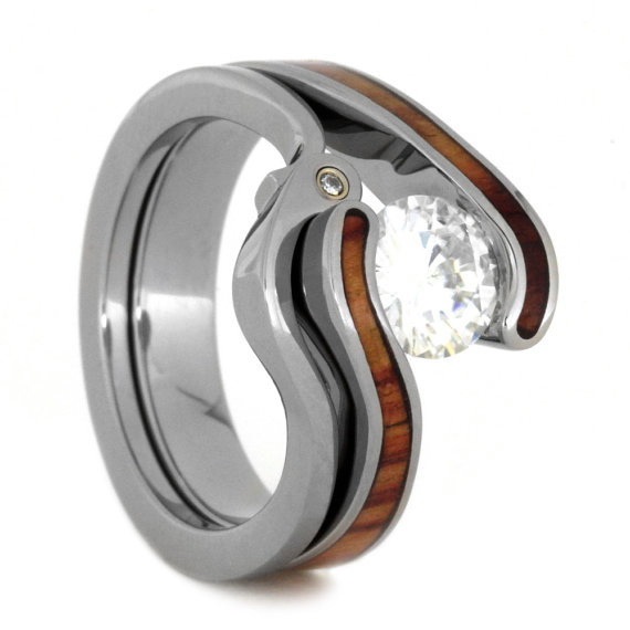 Womens Wedding Ring Set, Tension Set Moissanite Engagement Ring With Tulip  Wood And A Diamond Wedding Band, Titanium Rings