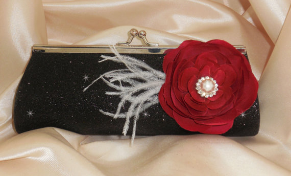 Hochzeit - Black Satin Glitter Bridesmaid Clutch Red Ranunculus White Feathers
