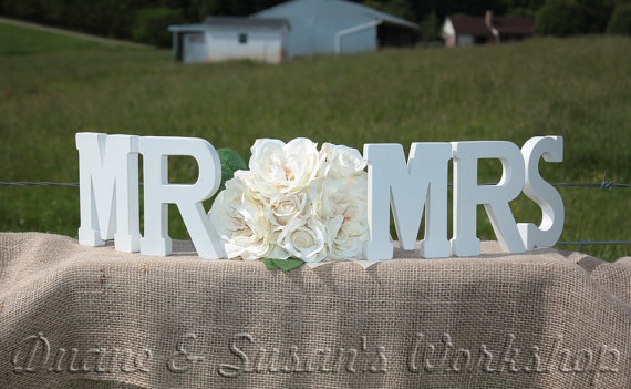 MR MRS Wedding Sign 8 Inch Sweetheart Table DIY Option
