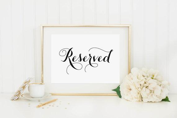 instant download reserved sign wedding reception signage wedding