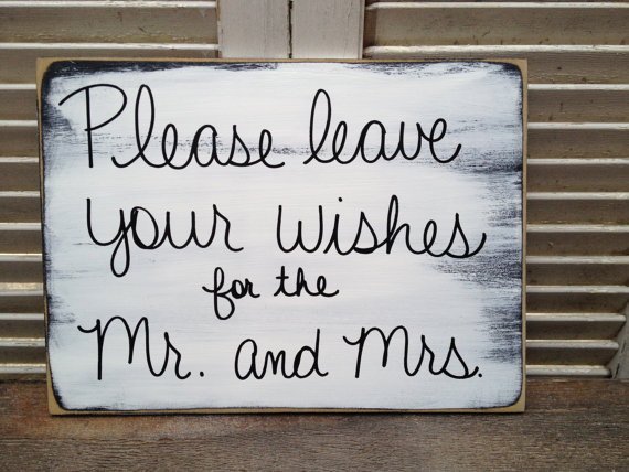 Mariage - Shabby Chic Black and White Please Leave Your Wishes for the Mr. and Mrs. Wedding Sign, Leave Your Wishes Sign
