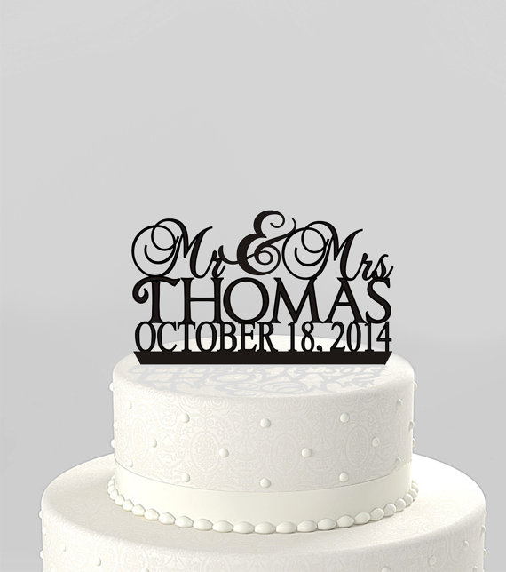 Mariage - Wedding Cake Topper Mr and Mrs Personalized with Last Name and Date, Acrylic Cake Topper [CT41mm]