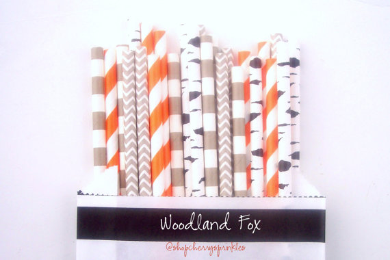 Mariage - Woodland Fox Paper Party Straws -Straw Multipack (25 count) *Boy Party *Fox Party *Boy Theme Decor -Paper Straws for Birthday -Baby Shower
