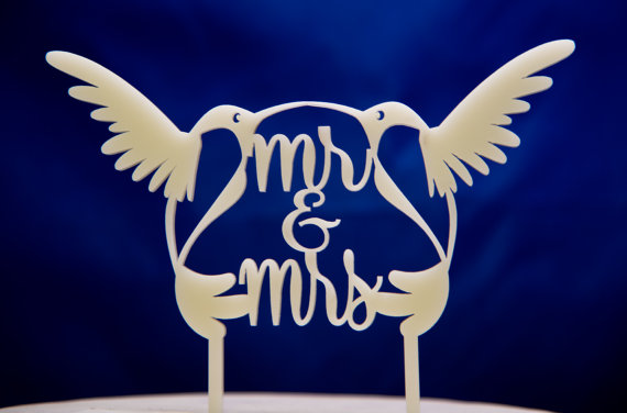 Mariage - Hummingbirds wedding cake topper - Mr and Mrs Birds Wedding Cake Topper - FREE set of Mr. and Mrs. champagne charms!