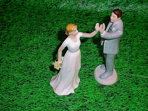 Mariage - Custom Weddings High Five Bride and Groom Wedding Cake Topper Romantic Fun Couple Lovers for life Personalized Modern Funny Figurines-1