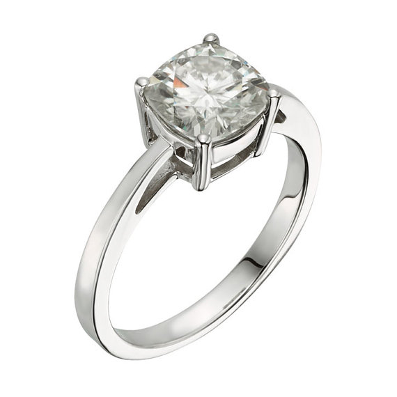 Mariage - Moissanite Engagement Ring, 2 CTW DEW Forever Brilliant® Solitaire Ring In 14k White Gold