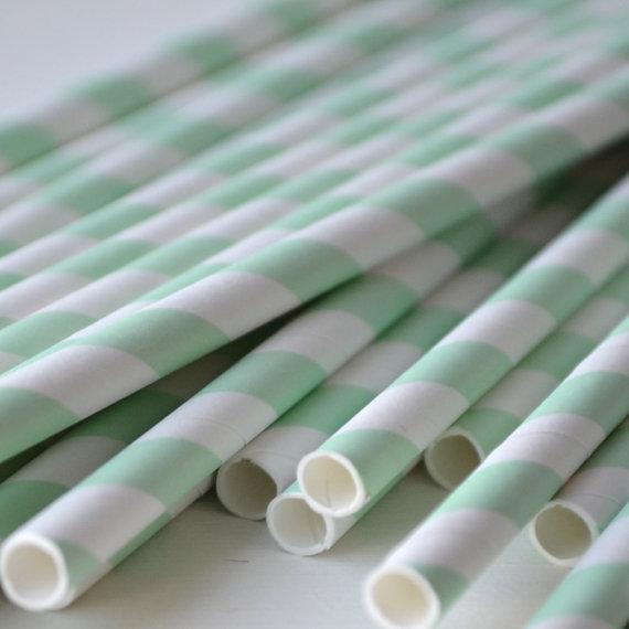 Mariage - Mint Green Circular Striped Paper Straws