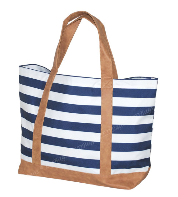 Overnight Tote Bag Stripe Personalized Pool Bridesmaid Gift Weekender Ping Sawyer Navy