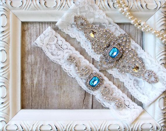 Crystal Garters Garter Set CUSTOMIZE Your Garter Bridal Garter Something Blue Wedding Garter w toss -Turquoise Blue Garter