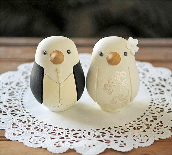 Mariage - Custom Wedding Cake Topper - Love Bird Cake Topper - Medium