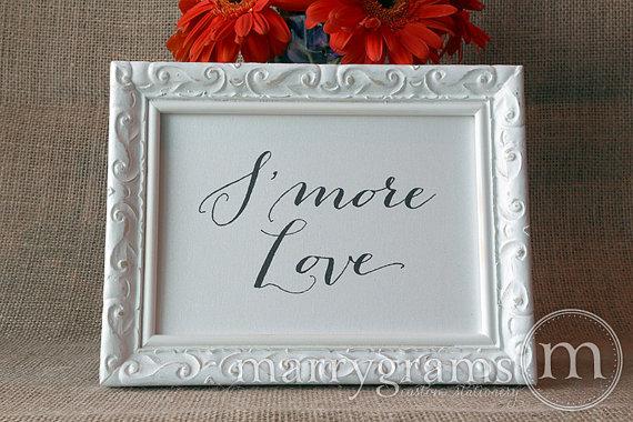 زفاف - S'more Love Wedding Candy Buffet Sign - Sweet Bar, Dessert Station - Wedding Table Reception Seating Signage - Matching Numbers Avail- SS09