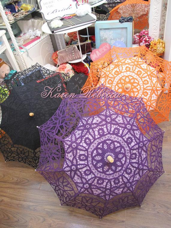 Mariage - Special Offer Battenburg Lace Vintage Umbrella Parasol For Bridal Bridesmaid Wedding [New Lace Pattern]]