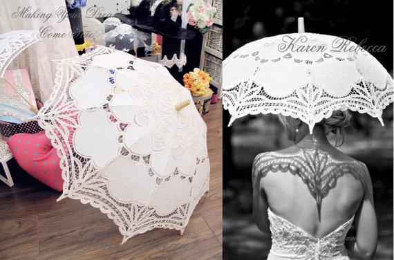 Wedding - Special Offer Ivory Battenburg Lace Vintage Umbrella Parasol For Bridal Bridesmaid Wedding