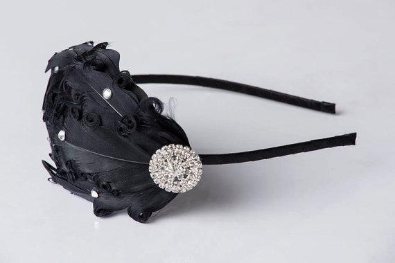 Wedding - SALE Ebony - Black Headband - Feather Headband - Flapper Girl - 1920s Headband - Bridesmaid Headpiece - Christmas Gift for Women - Tween