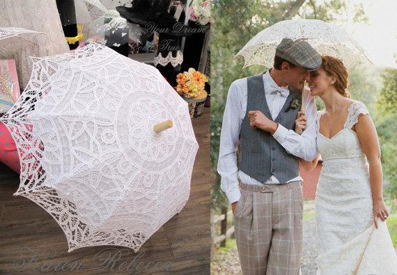 Mariage - Special Offer Battenburg Lace Vintage Umbrella Parasol For Bridal Bridesmaid Wedding