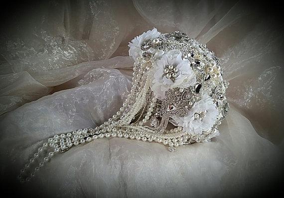 زفاف - Vintage Style Ivory Cascading Jeweled Bouquet- Balance for completed order for Kristin
