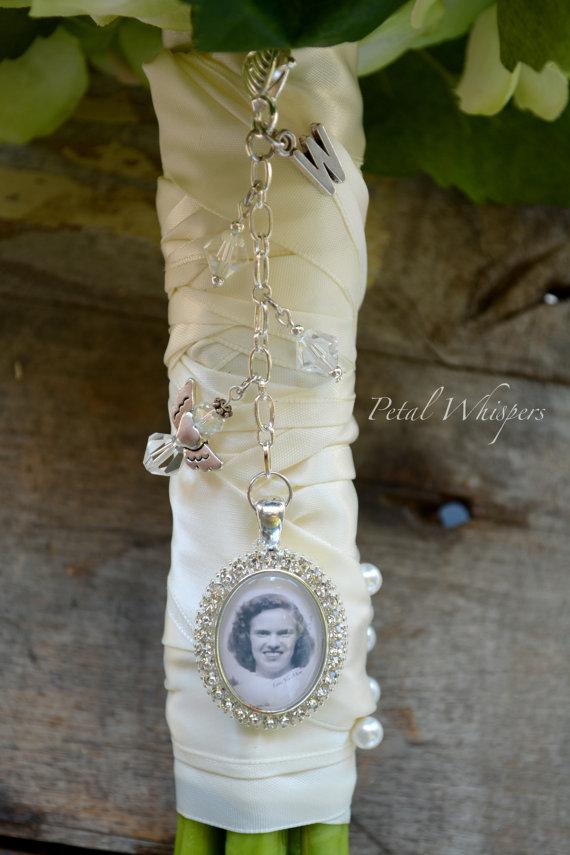 زفاف - Monogram Bouquet Charm - Wedding Memory Charm - Bouquet Picture Charm - Custom Bouquet Photo Charm -  Bridal Accessories - Bridal Gift