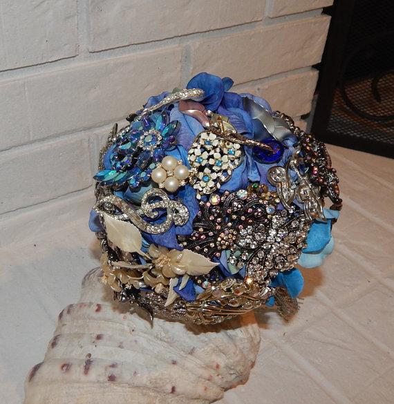 زفاف - Blue Brooch Wedding Bouquet -Bridal Bouquet- Accessory- Handmade Bouquet- Customized To Your Wedding Colors- SOLD