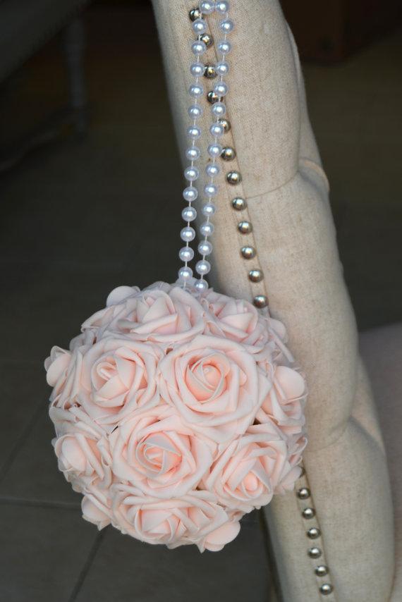 Hochzeit - PINK BLUSH Flower Ball With Pearl Handle, Wedding Decor, Bridal Shower ,Flower Girl. Choose Rose Color.
