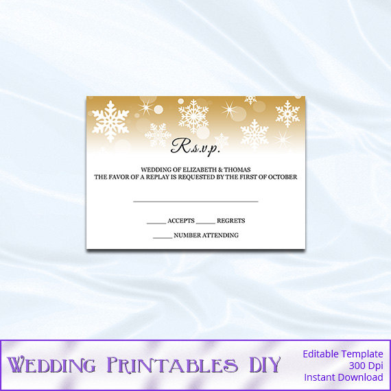 rsvp template diy gold snowflake wedding enclosure card printable