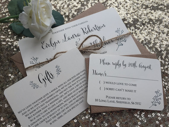 Vintage Rustic Evelyn Wedding Invitation Rsvp Gift Card Sample