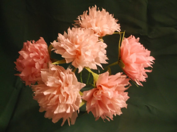 Свадьба - 1.50 Each, 24 Long Stem PINK Crepe Paper Peonies, Piney Roses, Paper Flowers, Wedding, Party Decoration, Paper Poms, Pink, Poms, Photo props