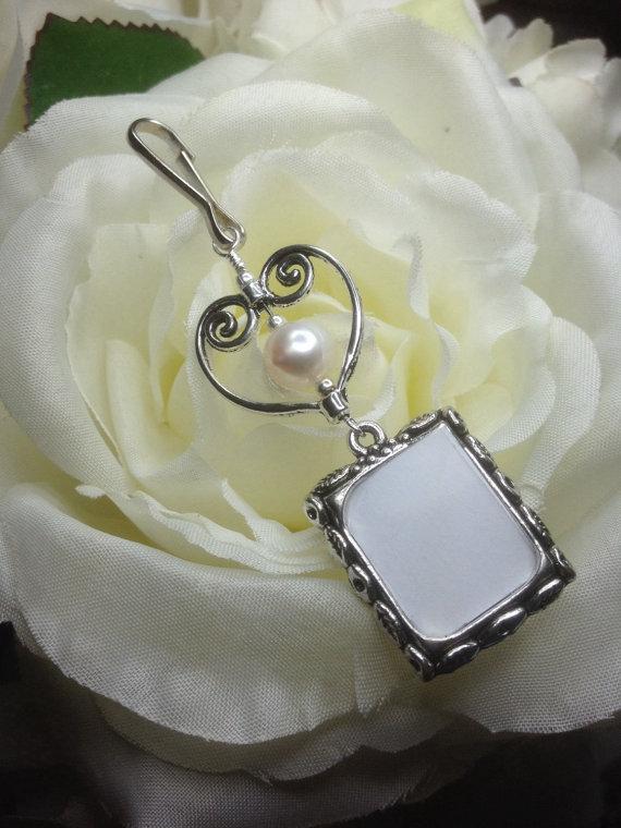 زفاف - Wedding bouquet photo charm. Memorial photo charm with pearl and heart.