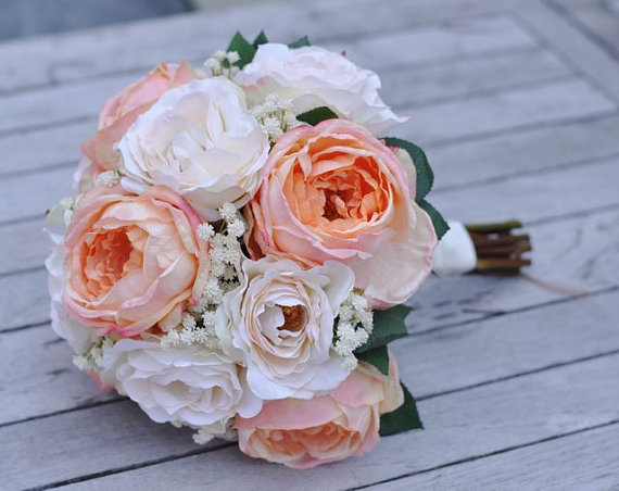 زفاف - Wedding Flower package made with Peach Cabbage Roses and Cream Roses in silk flowers.