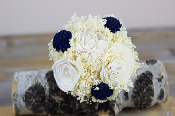 Mariage - Wedding Flowers, Flower Girl Bouquet, Jr. Bridesmaids/ Bridesmdaids Bouquet, Navy/Ivory Bouquet, Keepsake Bouquet, Alternative Bouquet