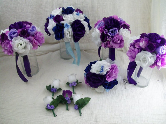 """Mariage - Final Payment CuSToM MaDe To oRDeR  For """" Evie """" 10 piece WeDDiNG PaCKage Brides on a Budget WeDDiNG BouQuets BLue,PuRPLe and IVoRY RoSeS"""