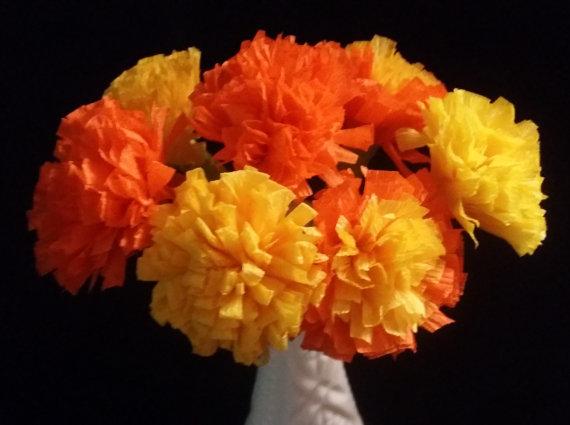 12 marigolds crepe paper flowers day of the dead dia de los 12 marigolds crepe paper flowers day of the dead dia de los muertos yellow orange mexican flowers wedding baby shower halloween mightylinksfo Choice Image