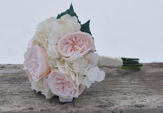 peach english garden rose with champagne ivory hydrangea bride wedding bouquet made with silk flowers hollys flower shoppe