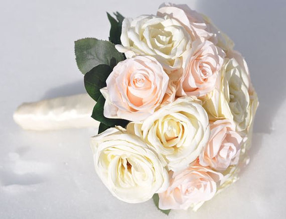 Свадьба - Peach Garden Rose with Champagne, Ivory Hydrangea Bride Wedding Bouquet made with silk flowers, Holly's Flower Shoppe.