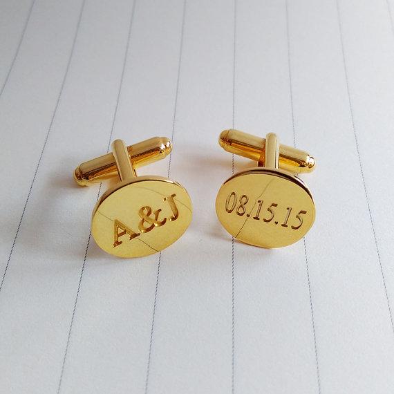 Mariage - Personalized  Cufflinks,Wedding Date CuffLinks,Engrave Wedding Date And Initial Cufflinks,Gold Custom Initial Cufflinks,Father Day Gift