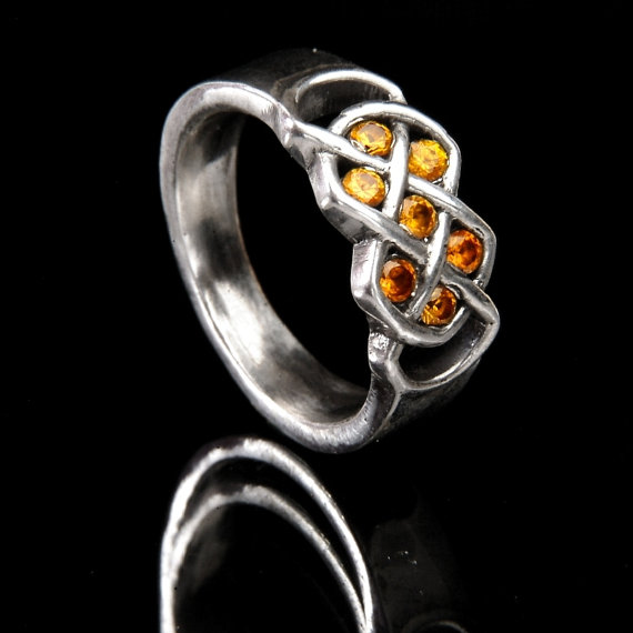 Mariage - Celtic Yellow Sapphire Ring With Infinity Knot Design in 14K Gold, Made in Your Size CR-771