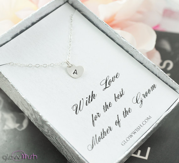 Wedding - Mother of the groom gift , mother of the bride gift, personalized jewelry gift , initial necklace