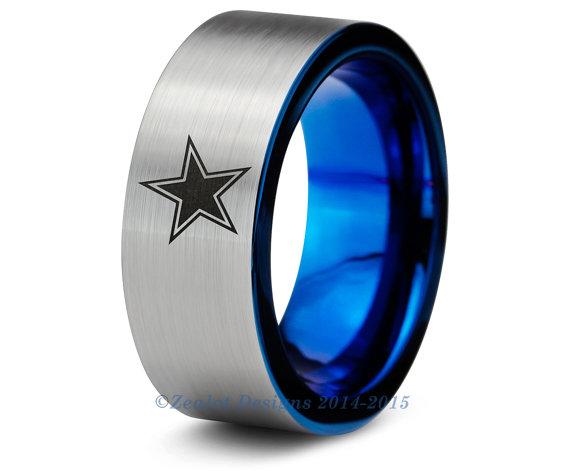 Dallas Cowboys Blue Tungsten Wedding Band Ring Mens Womens