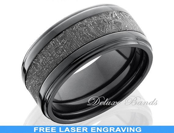 Black Zirconium Meteorite Inlay Mens Ring10mm Meteorite Wedding