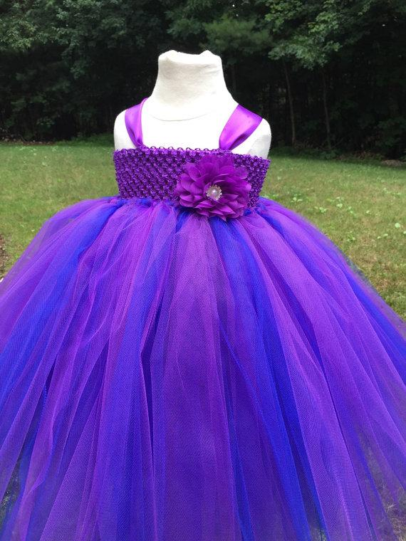 Purple And Royal Blue Girls Tulle Dress, Purple And Blue Dress ...