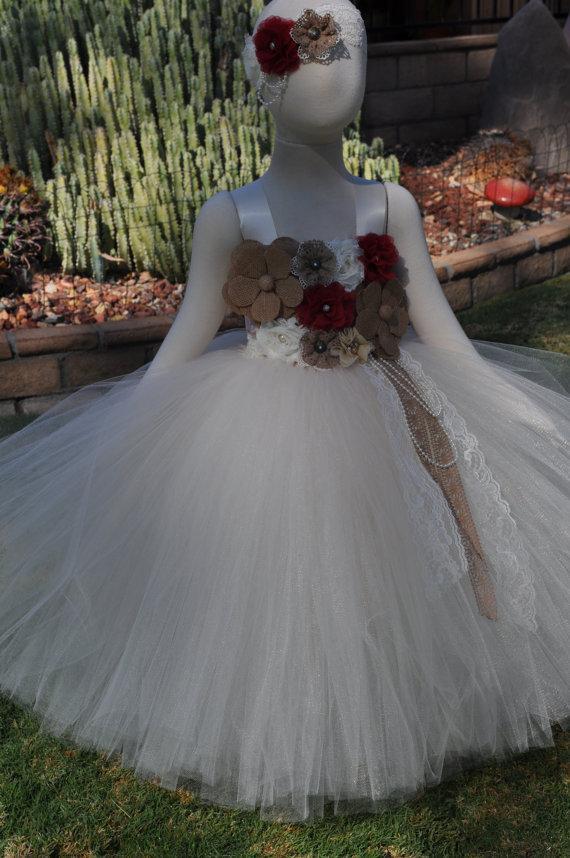 Hochzeit - Country Rustic Burlap Dress, Burlap Flower Girl Dress,Rustic Flower Girl Dress, Country Toddler Dress, Rustic Infant Dress,Burlap Baby Dress