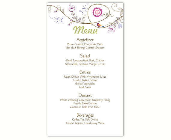 Wedding Menu Template DIY Menu Card Template Editable Text Word File  Instant Download Bird Menu Floral Menu Template Printable Menu 4x7inch  Menu Templates Free Download Word