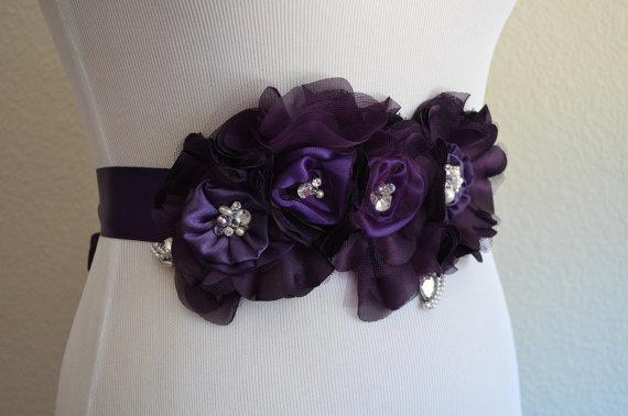 Mariage - Couture Custom Flower sash,Bridal Sash,Shades of dark Purple sash, Flower sash,Plum, Eggplant,satin ribbon,Ivory,Champagne,Black